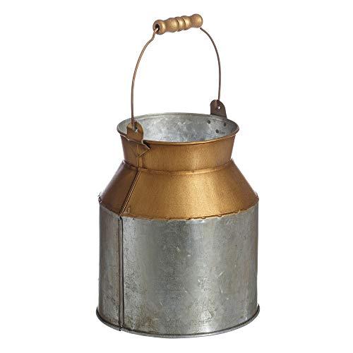 Florero lechera de Metal de Zinc Dorado y Gris de Ø 14x16 cm - LOLAhome