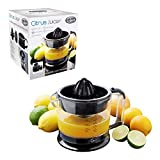 Quest 600ml Citrus Juicer | Easy Pour Spout and Adjustable Pulp Control | Auto Reverse and Start and Stop | Dishwasher Safe | Includes Filter (Black)
