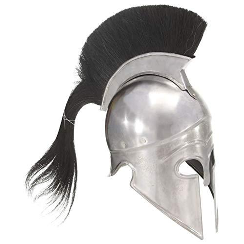 HUANGDANSP Griechischer Krieger-Helm Antik Replik LARP Silbern Stahl Andere Kunst Unterhaltung Hobby Kunst Sammlerstücke Sammlerwaffen