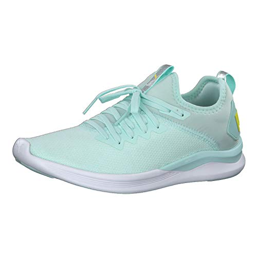 PUMA Damen Ignite Flash Evoknit SR WN's Laufschuhe, Blau (Fair Aqua-Blazing Yellow), 39 EU