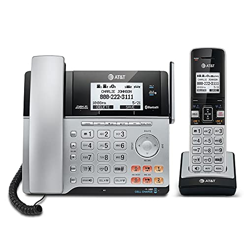 AT&T TL86103 2-Line Corded/Cordless for Small Business with Answering Machine, 2-Mailboxes, Connect-to-Cell, Caller ID Announcer, Intercom, Line-power, Long Range & Expandable to 12 Handsets