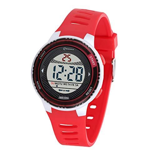 Relojes Infantiles para niños, Reloj Deportivo Digital al Aire Libre a Prueba de Agua con Alarma/Cronómetro, Resistencia al Agua Reloj Infantil Aprendizaje para Niños (Rojo-8563)