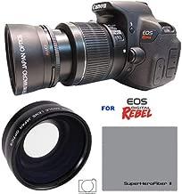 HD OPTICS 58MM 0.43x Professional HD Wide Angle Lens for Canon EOS Rebel 77D T7i T6s T6i T6 T5i T5 T4i T3i T3 SL1 1100D 700D 650D 600D 550D 1100D 1200D 1300D SL2 XT XTI XS XSI ELAN