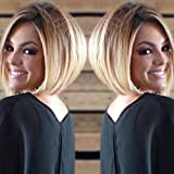Ombre Blonde Lace Front Wigs for White Women Short Bob Synthetic Wigs with Side Part Dark Roots to Short Blonde Bob Wigs Heat Resistant Fiber Hair