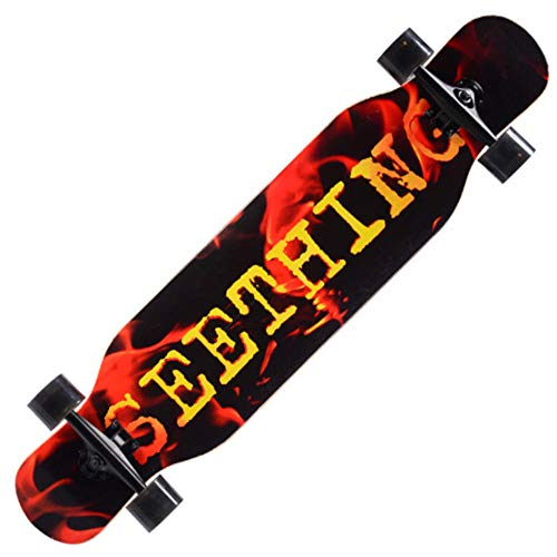 Beginner Skateboard, 9-Layer Hard Maple Skateboard Complete Longboard, With Shockproof Pu Wheels, Suitable For Boys And Girls Over 12-Flaming Red