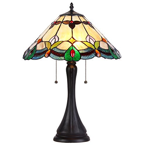 Shade Tiffany-Style 2 Light Table Lamp Multicolor
