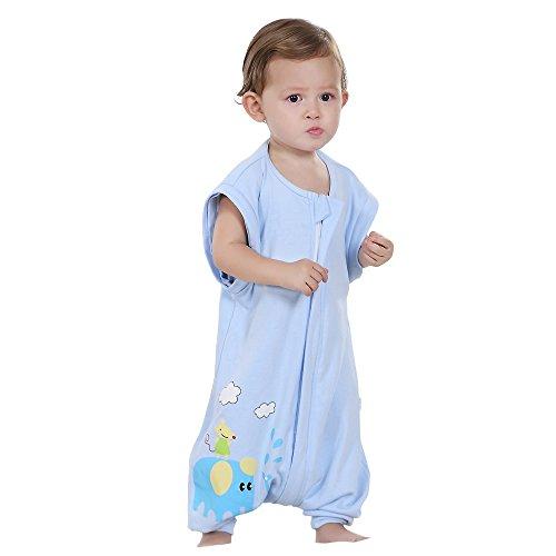 Baby Boy 100% Cotton Sleep Split Sleeve Wearbale Blanket Sleeping Bag Blue