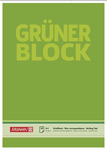 Brunnen 1052636 Briefblock / Schreibblock / Der grüne Block (A4, blanko, 50 Blatt, 60g/m²)