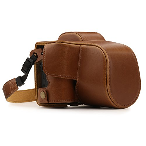 MegaGear Canon EOS M50 (15-45 mm) Ever Ready Leather Camera Case met draagriem - Lichtbruin