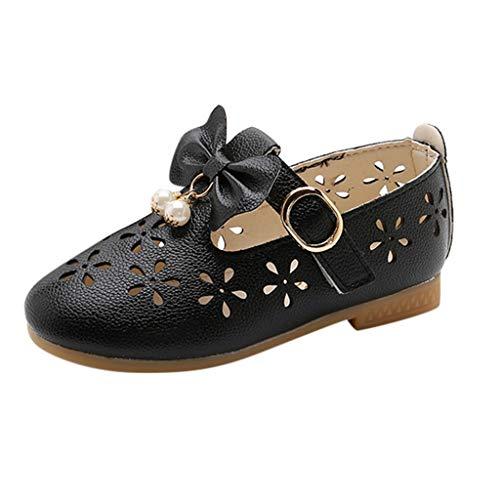 Babyschuhe Ballerinas/Dorical Mädchen Sommer rutschfeste Schuhe/Kinderschuhe mit Butterfly-Knot Perle Hohl Outdoor Casual Schuhe Party Prinzessin Schuhe Festliche Schuhe 21-36 EU(Schwarz,36 EU)