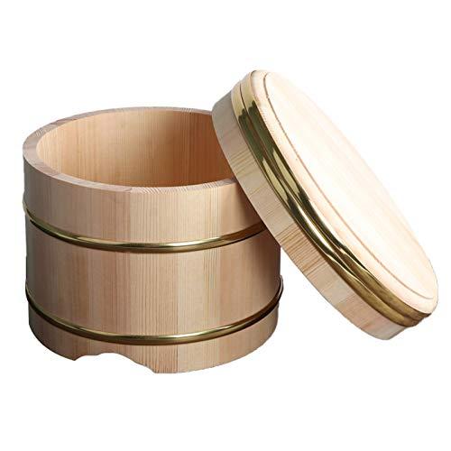 AIZYR Ciotola di Riso Sushi in Legno con Coperchio, Vasca di Miscelazione per Riso per Sushi Hangiri Sushi Oke Accessorio per Sushi per La Cucina Domestica del Ristorante,36cm