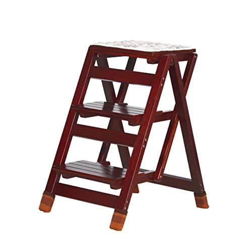Z-STOOL Klappbare Trittleiter Aus Holz 3 Stufen Hocker for Erwachsene & Kinder Küchenleiter Kleine Fußhocker Tragbare Schuhbank, 41 × 57 × 65,5 cm (Color : D)