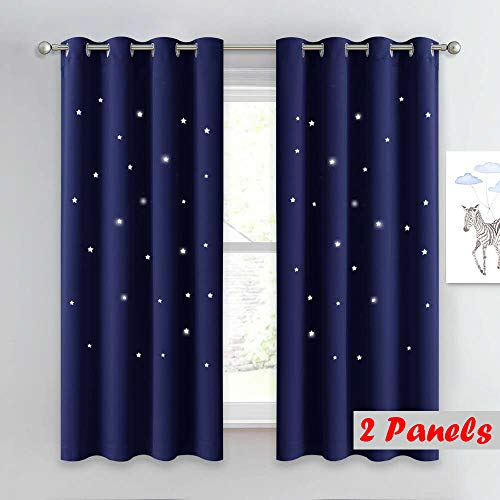 NICETOWN Romantic Starry Sky Curtains - Space Inspired Night Sky Twinkle Star Kid's Room Draperies, Creative Blackout Window Drapes for Bedroom (Two Panels, 52 x 63 inch Panel, Navy Blue)