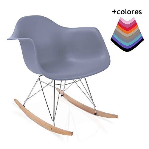 duehome Rocker - Silla Mecedora, Gris y Madera Haya, sillas balancin, Silla diseño nórdico, Medidas: 69,5 cm Alto x 63 cm Ancho x 65,5 cm Fondo