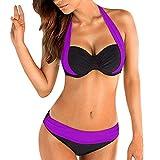 Bikini Mujer Push Up Lanskirt Costura de Color de Moda Bikini Conjunto de Ropa Interior Bragas...