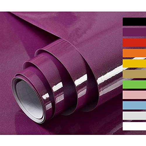 Hode Selbstklebende Klebefolie Folie für Küchenschränke Wand Möbelfolie Wasserdicht Vinyl 40cmX300cm Lila Hochglanz Mit Glitzerpartikel Effekt
