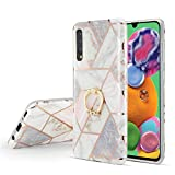 DEFBSC Samsung Galaxy A70 Marble Case with Ring Kickstand,
