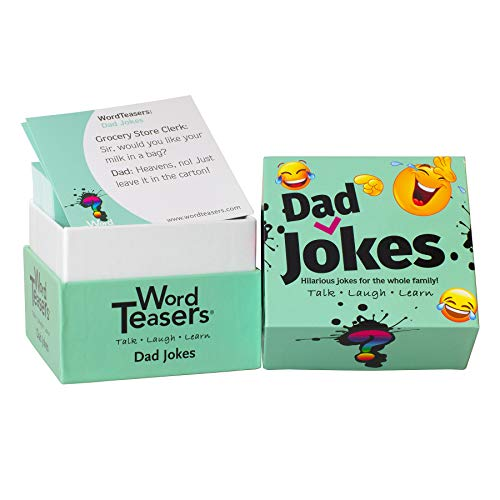 ? WORD TEASERS Jokes and Riddles Conversation Starters - Hilarious Card Game for Families, Couples, Parties & Travel - Flashcards for Adults and Children Ages 7+ - 150 Jokes (Dad Jokes Edition)
