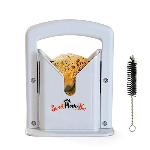 Sweet Home Bee Bagel Slicer, Stainless Steel Kitchen Guillotine Cutter with Safe Grip and Safety Shield for Bagels, Breads, Muffins, Buns, Rolls - Fast, Easy And Safe, White