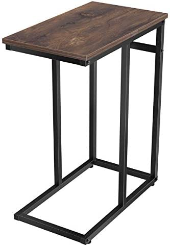Best Homemaxs C Table Sofa Side Table for Small Space, Snack Table with Wood Finish and Steel Constructio