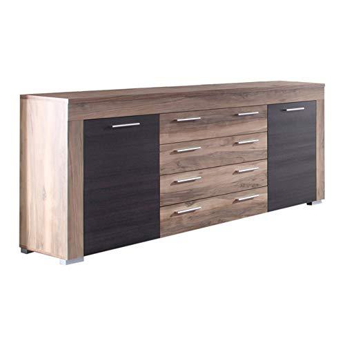 trendteam smart living Wohnzimmer Sideboard Schrank Wohnzimmerschrank Boom, 176 x 79 x 40 cm in Nussbaum Satin (Nb.) mit viel Stauraum