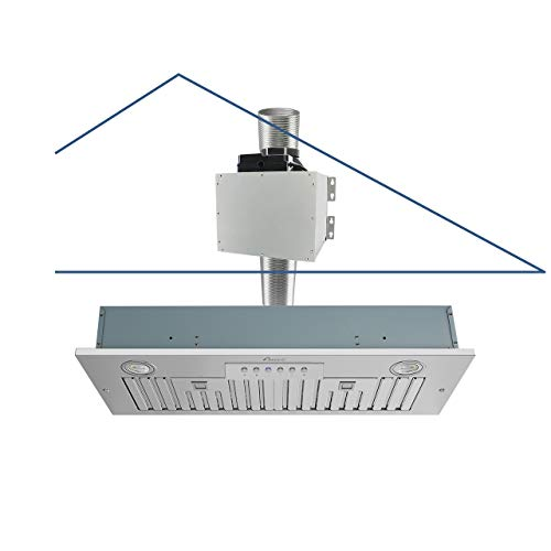 """Awoco Super Quiet Split Insert Stainless Steel Range Hood, 4-Speed, 800 CFM, LED Lights, Baffle Filters with 6"""" Blower (30""""W 6"""" Vent)"""