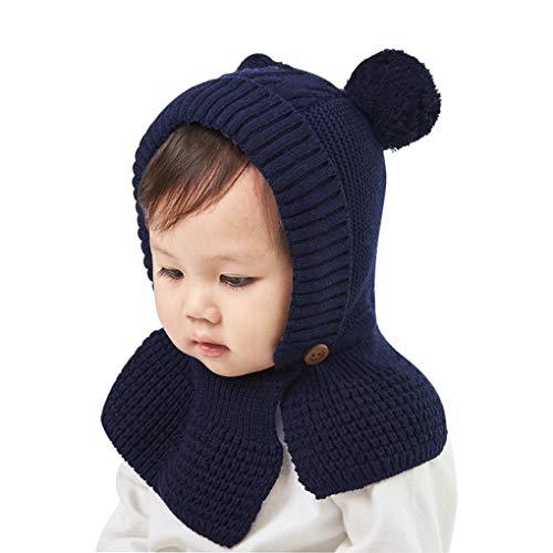 JIAHG - Gorro de lana de punto para niño, invierno, cálido, forro polar, bonito gorro con 2 pompones, chal con capucha, bufanda para bebé, niño o niña de 2 a 4 años azul Talla única