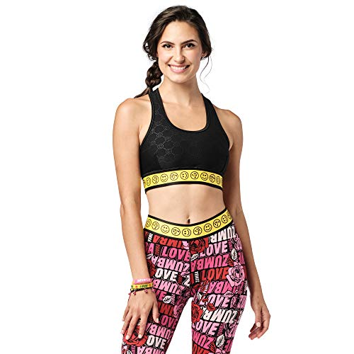 Zumba Athletic Dance Fitness - Sujetador deportivo de alto impacto para mujer, color negro oscuro, XS