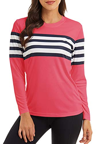GOLDPKF Damen Atmungsaktives UPF 50+ UV Schutz Sonnenschutz raglanärmel Langarm Oberteile Funktions Downhill wandershirt Rose pink Medium