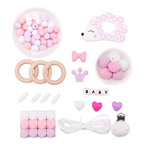 Promise Babe DIY Baby Dummy Clip Kit - Schnullerkette Spielzeug - Hölzerne Beißringe - Silikon-Igel Brief Perlen Set - Pflege Halskette Armband Kit