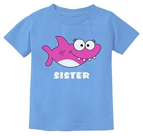 Tstars - Sister Shark Doo Doo Gift for Big Sister Toddler Kids T-Shirt 2T California Blue