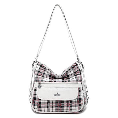 angel kiss Satchel Handbag for Women, Ultra Soft Washed Vegan Leather Crossbody Bag, Shoulder Bag, Tote Purse (ZA-0105-2G#16WHITE)