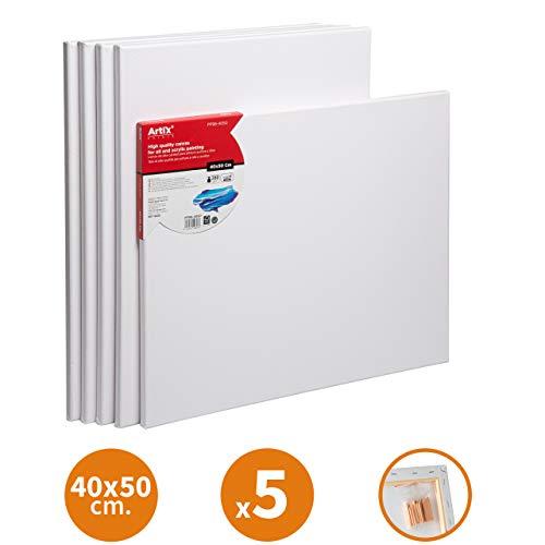 Pack 5 Lienzos Pre-estirados Lienzos para Pintar 40x50cm Lienzo Blanco Algodon 100% para Pintura Acrilica, Oleo y Técnica Mixta   Artix PRO