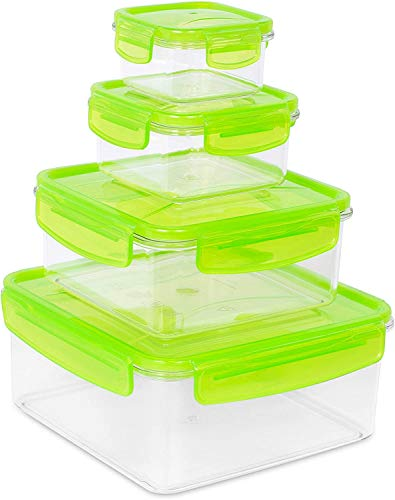 Internet's Best Plastic Food Storage Container Set with Locking Lids - Airtight Freezer, Dishwasher & Microwave Safe Food Containers - Small and Large Reusable Square Food Containers