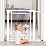Babelio Metal Baby Gate Pet Gate, 29-40 inches Pressure Mounted Dog Gate with Door for Doorways and Stairs, No Drilling, Extra Wide Indoor Safety Gate for Puppy and Child (Transparent White)
