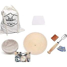 RIGRIN Ensemble de corbeille à pain en rotin 10 pouces Corbeille à pain ronde x1 grattoir en plastique x1 pochoirs…