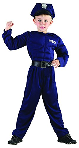 Rire Et Confetti - Ficpol015 - Déguisement pour Enfant - Costume Petit Policier Muscle - Garçon - Taille L