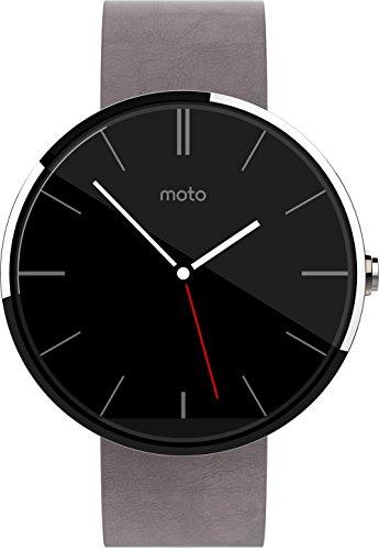 Motorola Moto 360 Smartwatch (helles Edelstahlgehäuse mit grauem Echtlederarmband)