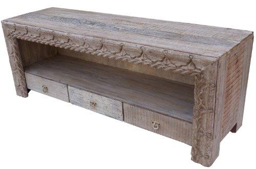 Guru-Shop Lowboard, TV-tafel, Platte Ladekast Vintage Look - Model 3, Bruin, 57x148x46 cm, Ladekasten Dressoirs