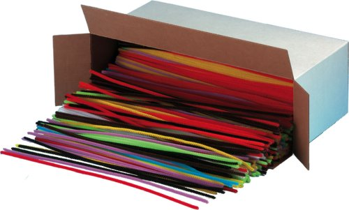 Creative Arts by Charles Leonard Chenille Stem Class Pack, 4 MM x 12 Inch, Assorted Colors, 1000/Box (65490)