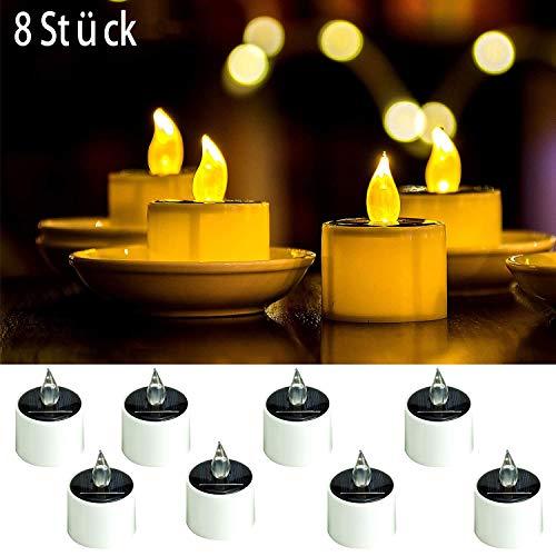 ANGMLN 8 Stück Solar LED Kerzen Solar Kerzen Außen Interior Solar Teelichter Wasserdicht Flammenlose Kerzen Solarleuchte Teelichter Nachtlicht für Partei Hochzeit Festival Dekoration (Warmweiß)