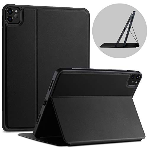 X-level Case for iPad Pro 11 2020 with Pencil Holder, [Fibcolor Serie] Soft Flexible TPU Back Cover, Auto Sleep/Wake, Multiple Viewing Stand Modes Smart Cover for iPad Pro 11 2020, Black