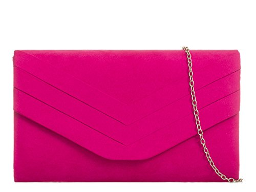 (Fuchsia) - fi9 STYLISH SUEDE ENVELOP STYLE BRIDAL WEDDING EVENING CLUTCH PARTY PURSE HAND BAG