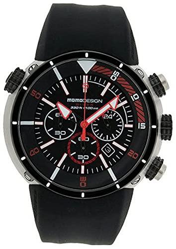R.Momo Diver Pro. cj. pvd. ESF neg/Roj. Reloj para Hombre Analógico de Cuarzo con Brazalete de Silicona MD1005BK-04RD