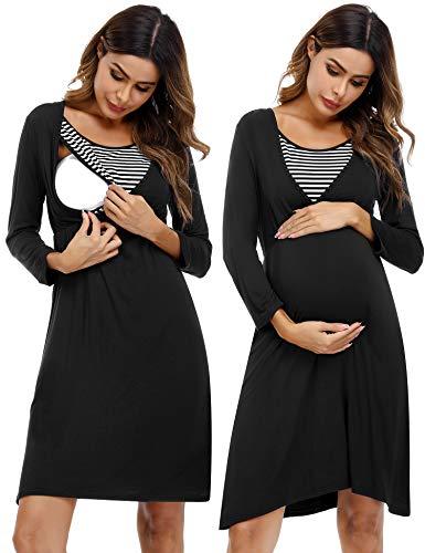 Akalnny Stillnachthemd Damen Lang Umstandsnachthemd Baumwolle Nachthemd mit Stillfunktion Mutterschaft Schwangerschaft Schlafanzug für Schwangere