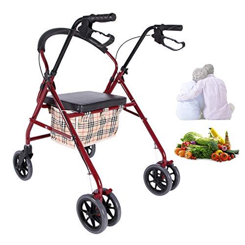 XYYZX Aggiornato Carrello Portaspesa, 2 en 1 Pieghevole Carrello Spesa Super Caricamento 100kg Sedia a rotelle Pieghevole, Carrozzina disabili, Seduta 44 Centimetri,Rosso