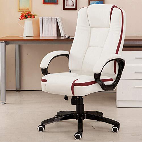 Binnenlandse Zaken High-Back leer stoel, verstelbare Lift, dik kussen/Ergonomisch Taille Ondersteuning Design, Wit/Zwart/Rood,White