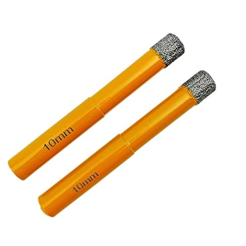 Wohren 2pcs 10mm Bohrer Vaccum Gelötete Diamantbohrer 10mm Schaft Trockenbohren for Steinmauerwerk Werkzeug (Color : Orange, Size : Round)