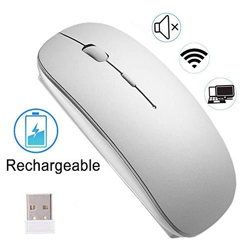 EasyULT Wiederaufladbar Kabellose Maus, Wireless Mäuse 2.4GHz Aufladung Funkmaus, Geräuschlose Schnurlos Optische Mouse mit USB Empfänger für PC/Tablet/Laptop (Silber)