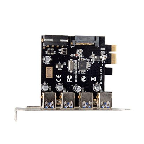 JSER 4 Porte PCI-E a USB 3.0 HUB PCI Express Scheda di Espansione Adattatore 5Gbps per Scheda Madre
